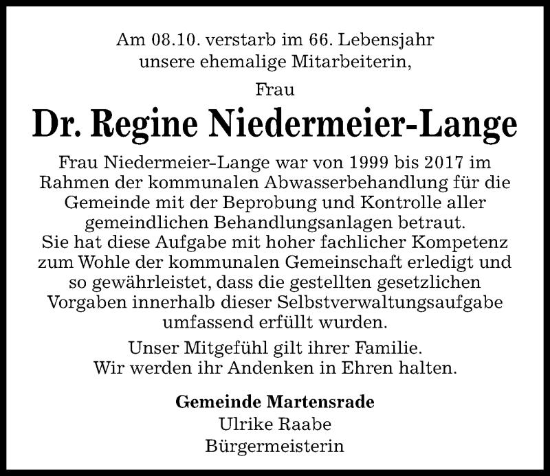 Traueranzeige für Regine Niedermeier-Lange vom 14.10.2020 aus Kieler Nachrichten