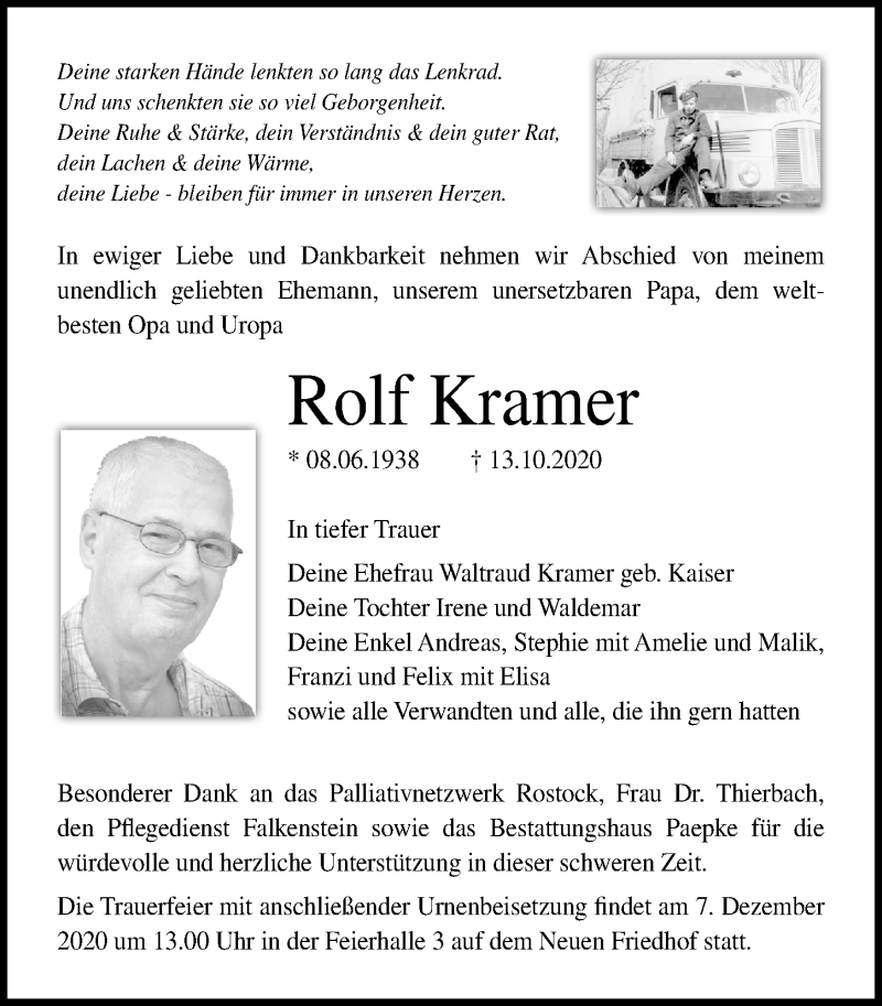 Traueranzeige für Rolf Kramer vom 17.10.2020 aus Ostsee-Zeitung GmbH