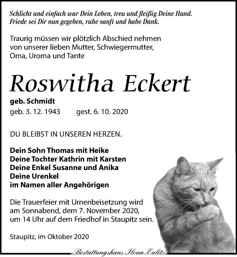 Traueranzeige für Roswitha Eckert vom 17.10.2020 aus Torgauer Zeitung