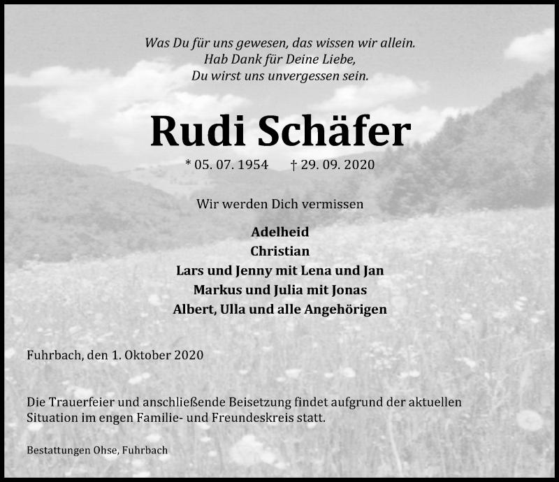 Traueranzeige von  Rudi Schäfer