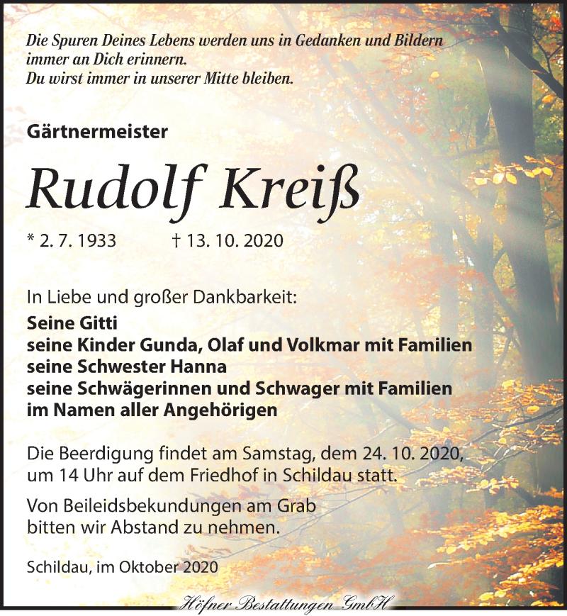 Traueranzeige für Rudolf Kreiß vom 17.10.2020 aus Torgauer Zeitung