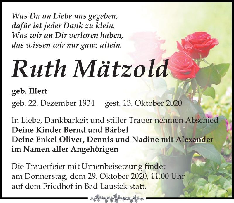 Traueranzeige für Ruth Mätzold vom 17.10.2020 aus Leipziger Volkszeitung