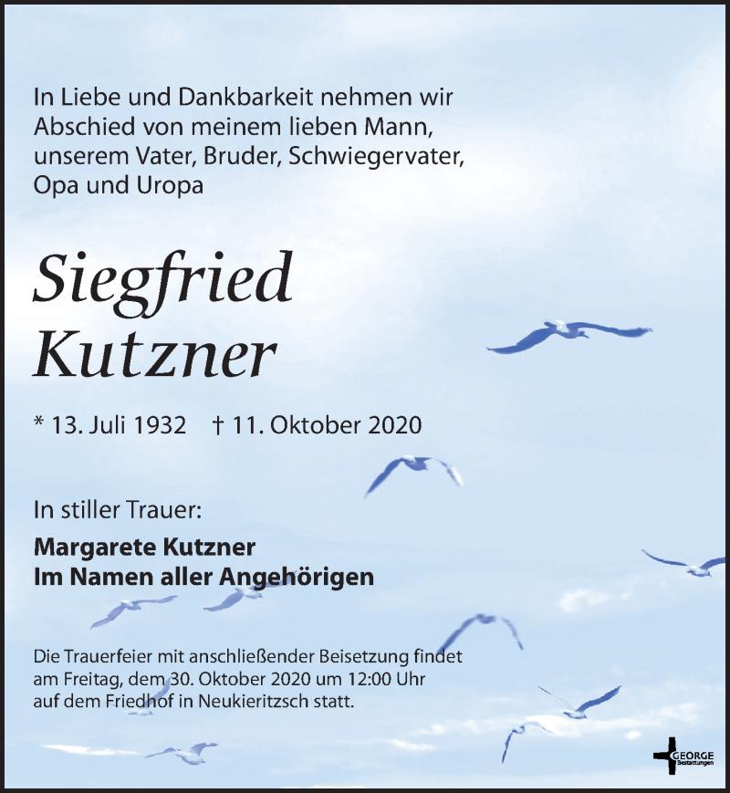 Traueranzeige für Siegfried Kutzner vom 17.10.2020 aus Leipziger Volkszeitung
