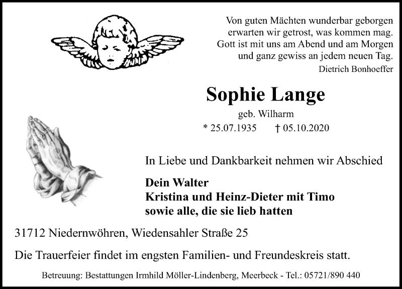 Traueranzeige für Sophie Lange vom 07.10.2020 aus Schaumburger Nachrichten
