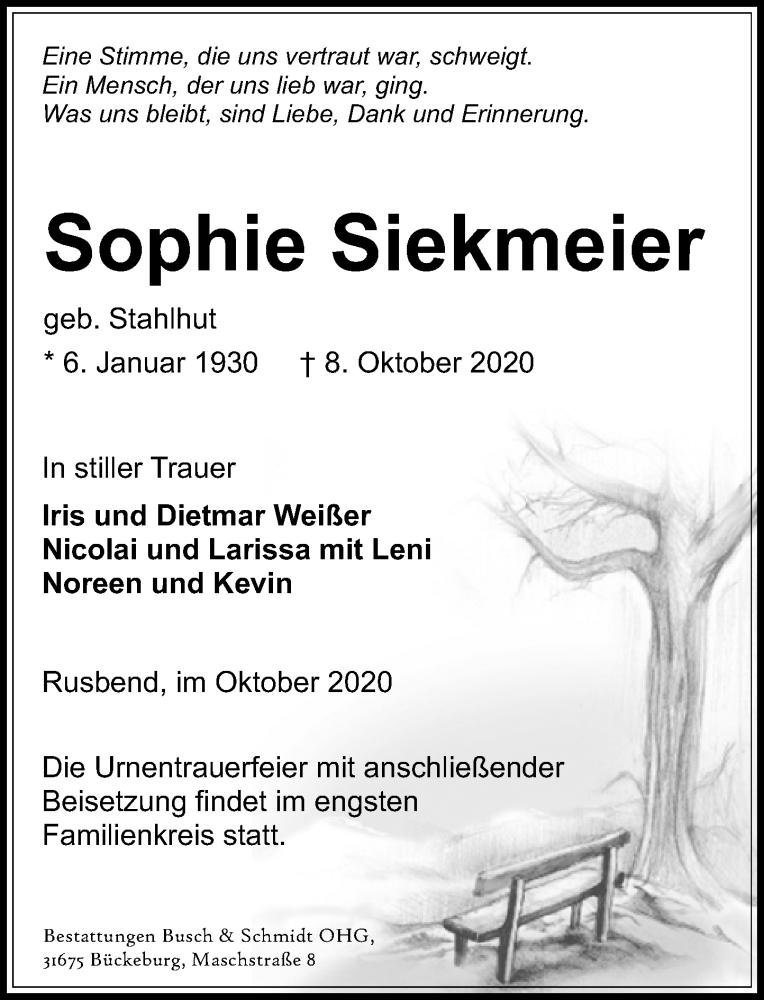 Traueranzeige für Sophie Siekmeier vom 17.10.2020 aus Schaumburger Nachrichten