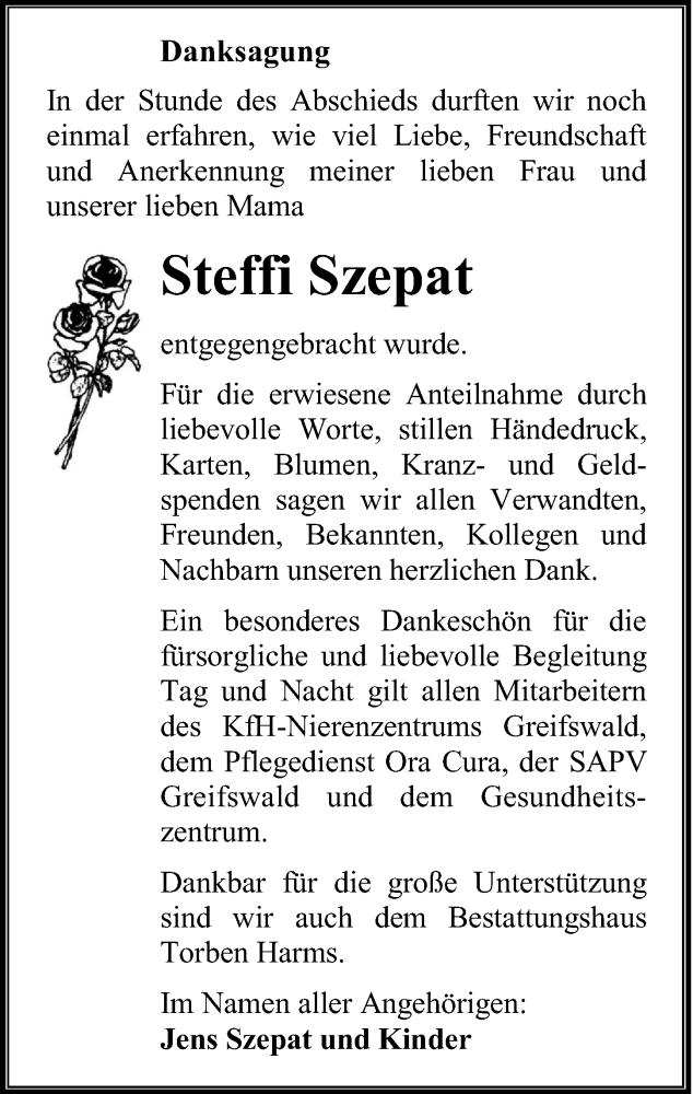 Traueranzeige für Steffi Szepat vom 30.10.2020 aus Ostsee-Zeitung GmbH