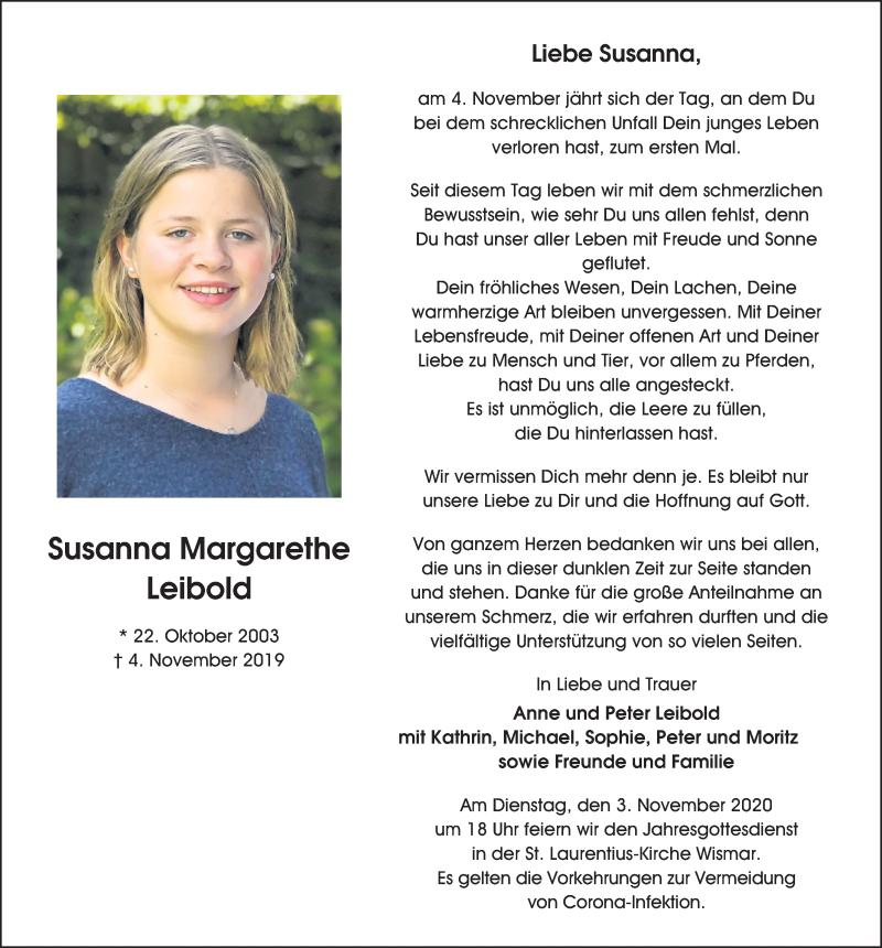 Traueranzeige für Susanna Margarethe Leibold vom 30.10.2020 aus Ostsee-Zeitung GmbH