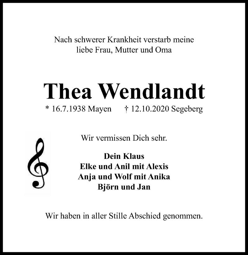 Traueranzeige für Thea Wendlandt vom 17.10.2020 aus Kieler Nachrichten