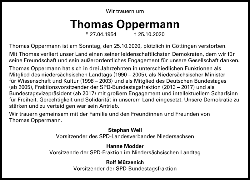 Traueranzeige für Thomas Oppermann vom 30.10.2020 aus Hannoversche Allgemeine Zeitung/Neue Presse