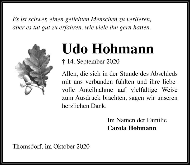 Traueranzeige für Udo Hohmann vom 07.10.2020 aus Lübecker Nachrichten