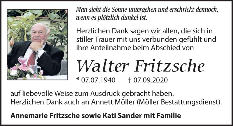 Traueranzeige für Walter Fritzsche vom 02.10.2020 aus Leipziger Volkszeitung
