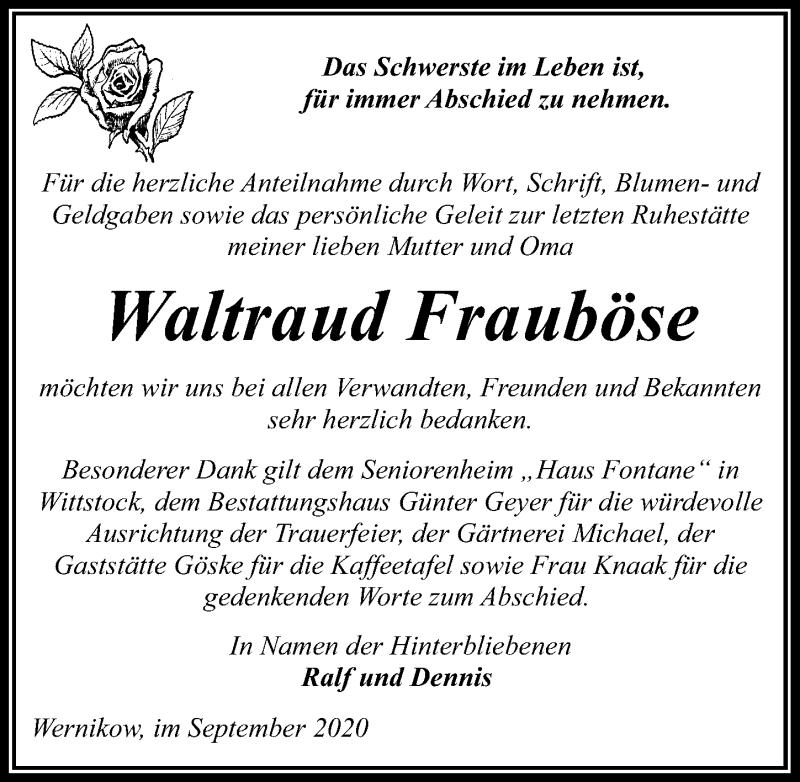 Traueranzeige für Waltraud Frauböse vom 02.10.2020 aus Märkischen Allgemeine Zeitung