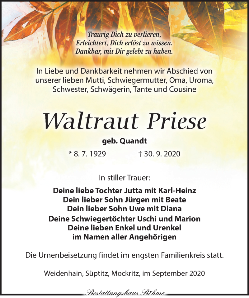 Traueranzeige für Waltraut Priese vom 17.10.2020 aus Torgauer Zeitung