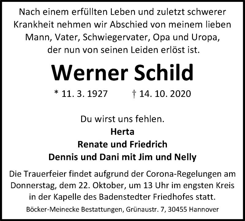 Traueranzeige für Werner Schild vom 17.10.2020 aus Hannoversche Allgemeine Zeitung/Neue Presse