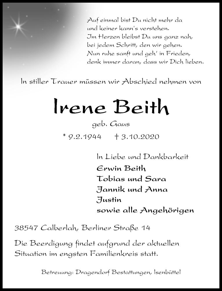 Traueranzeige für lrene Beith vom 07.10.2020 aus Aller Zeitung