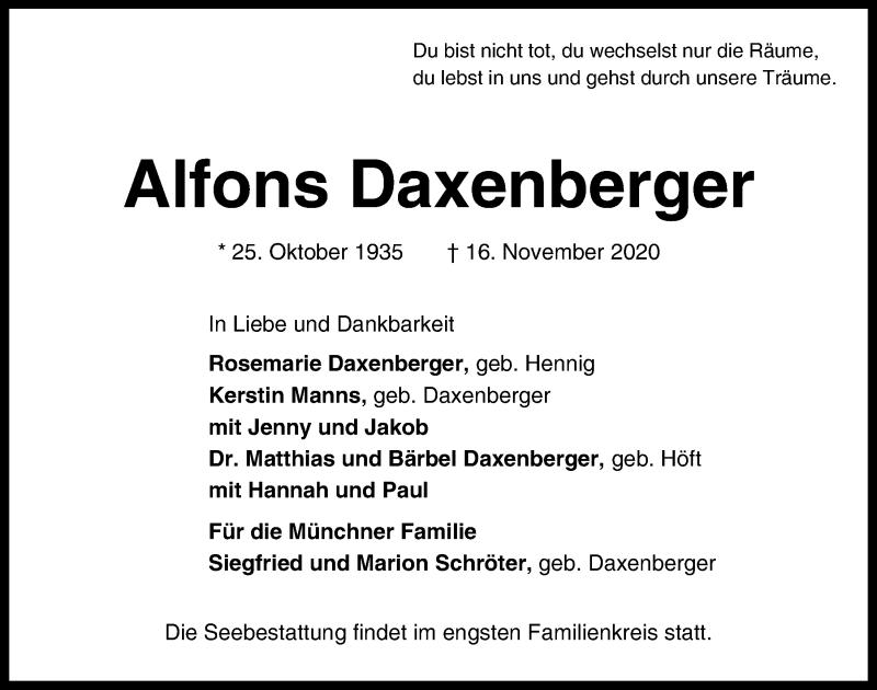 Traueranzeige für Alfons Daxenberger vom 21.11.2020 aus Kieler Nachrichten