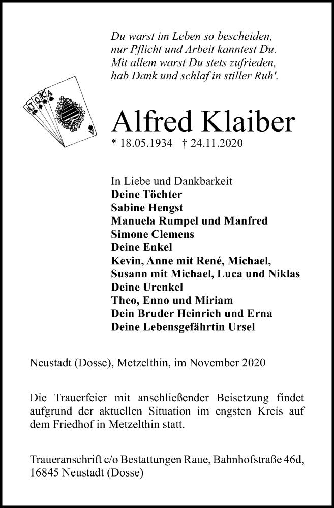 Traueranzeige für Alfred Klaiber vom 28.11.2020 aus Märkischen Allgemeine Zeitung