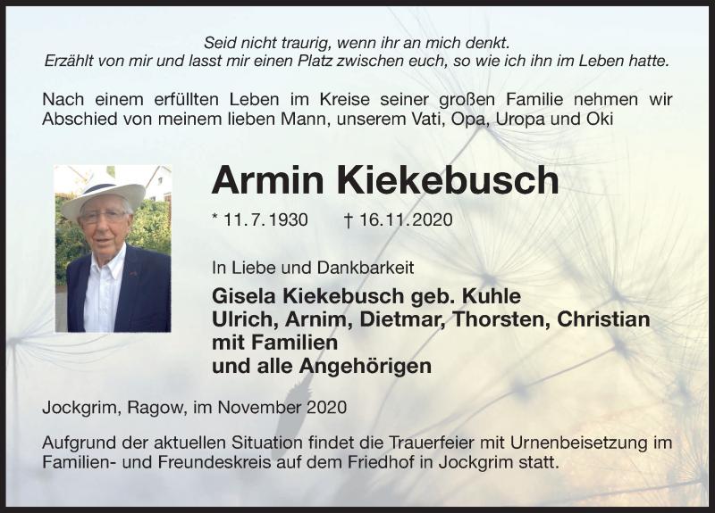 Traueranzeige für Armin Kiekebusch vom 21.11.2020 aus Märkischen Allgemeine Zeitung