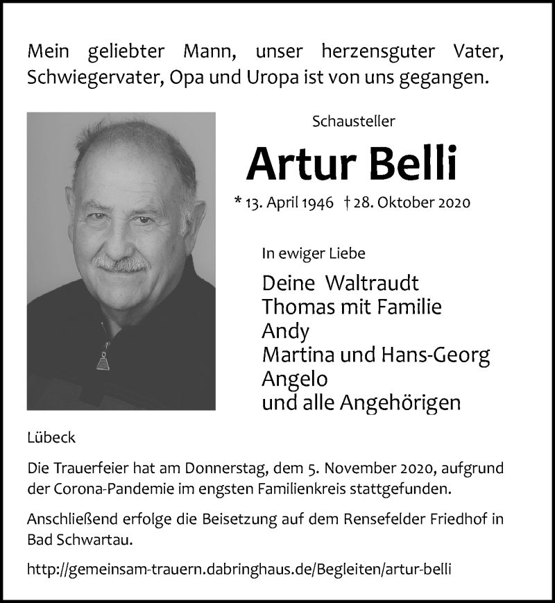 Traueranzeige für Artur Belli vom 04.11.2020 aus Lübecker Nachrichten