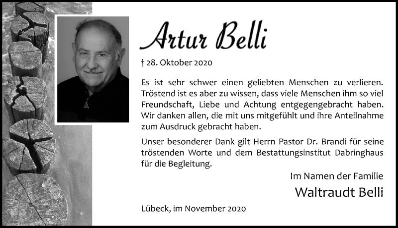Traueranzeige für Artur Belli vom 15.11.2020 aus Lübecker Nachrichten
