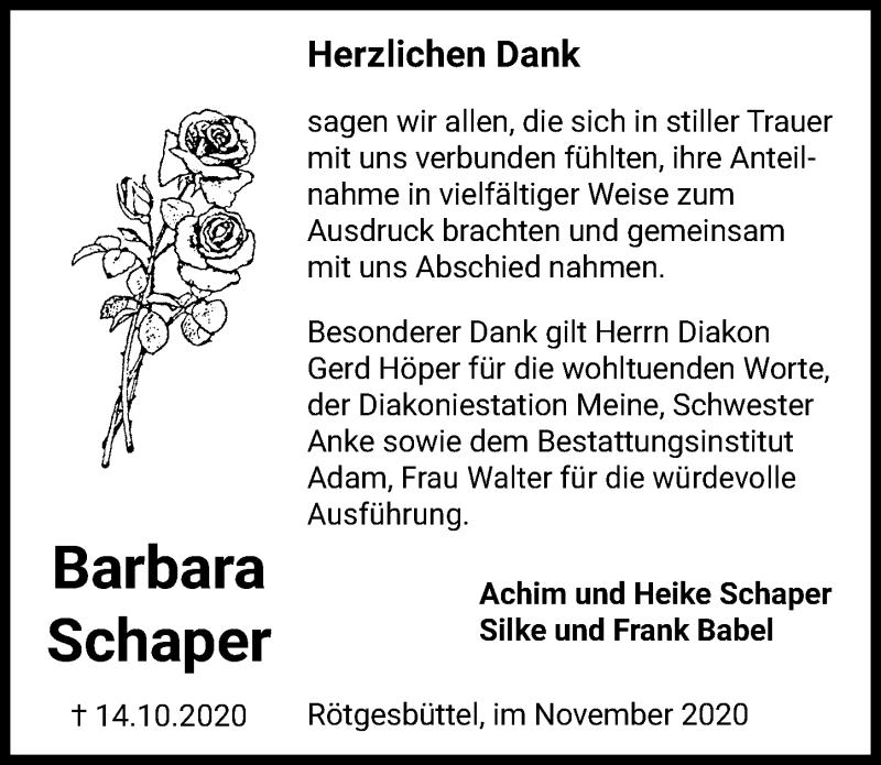 Traueranzeige für Barbara Schaper vom 14.11.2020 aus Aller Zeitung