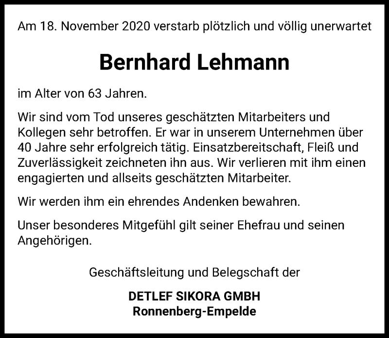 Traueranzeige für Bernhard Lehmann vom 21.11.2020 aus Hannoversche Allgemeine Zeitung/Neue Presse