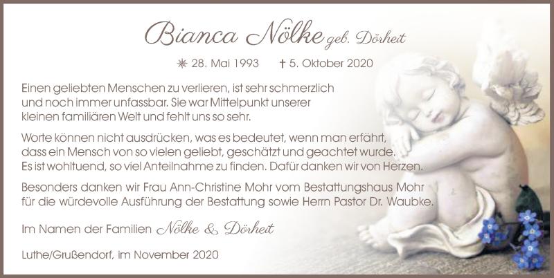Traueranzeige für Bianca Nölke vom 14.11.2020 aus Aller Zeitung