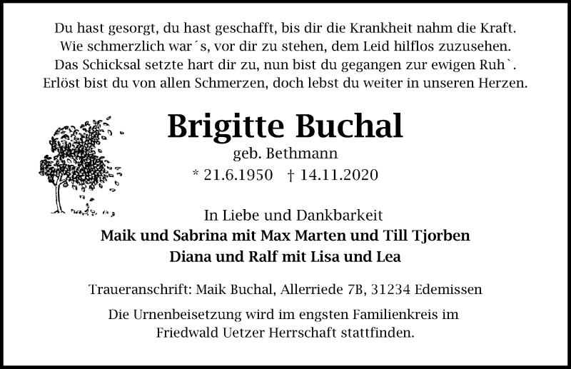 Traueranzeige für Brigitte Buchal vom 21.11.2020 aus Peiner Allgemeine Zeitung