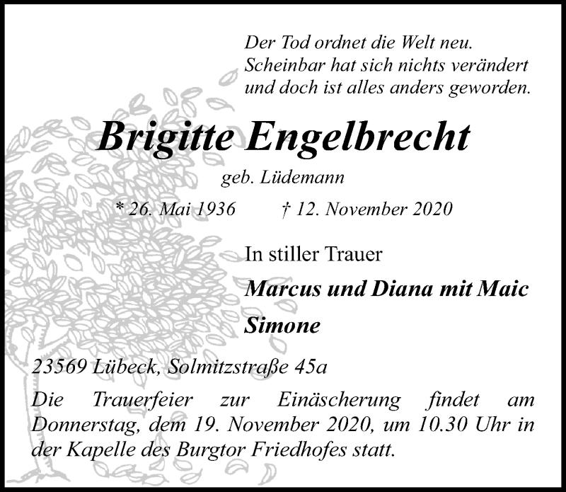 Traueranzeige für Brigitte Engelbrecht vom 15.11.2020 aus Lübecker Nachrichten