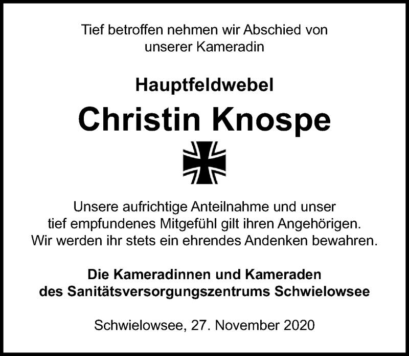 Traueranzeige für Christin Knospe vom 27.11.2020 aus Märkischen Allgemeine Zeitung