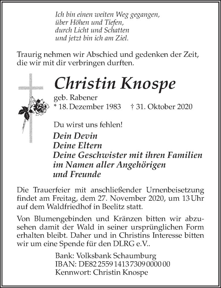 Traueranzeige für Christin Knospe vom 14.11.2020 aus Märkischen Allgemeine Zeitung