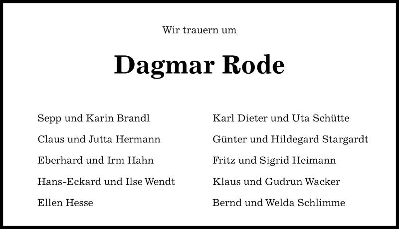 Traueranzeige für Dagmar Rode vom 28.11.2020 aus Hannoversche Allgemeine Zeitung/Neue Presse