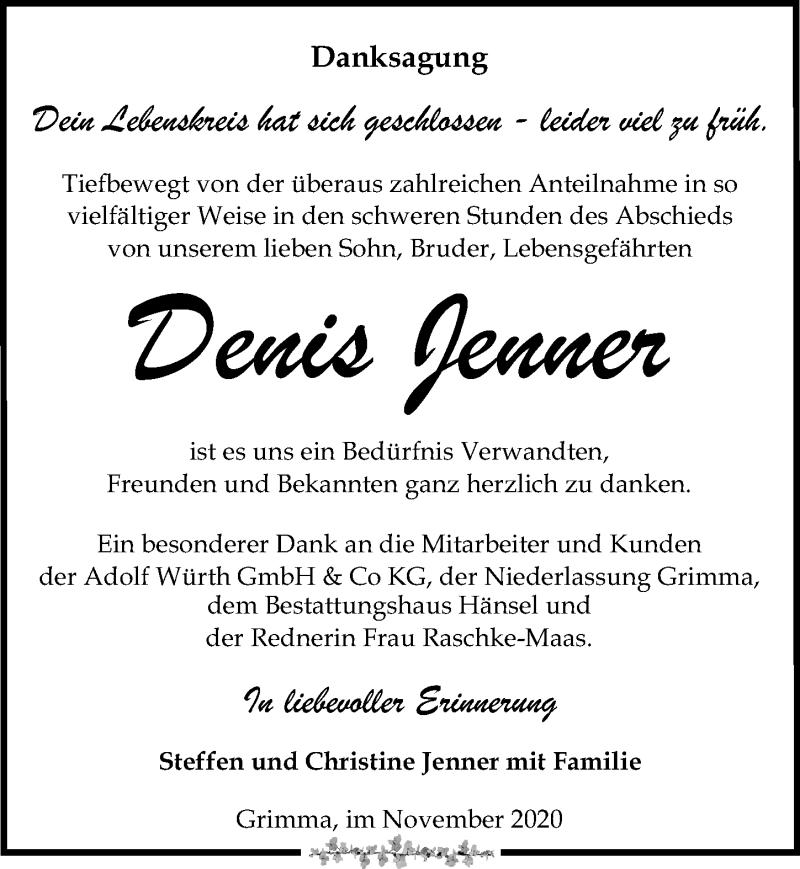 Traueranzeige für Denis Jenner vom 28.11.2020 aus Leipziger Volkszeitung