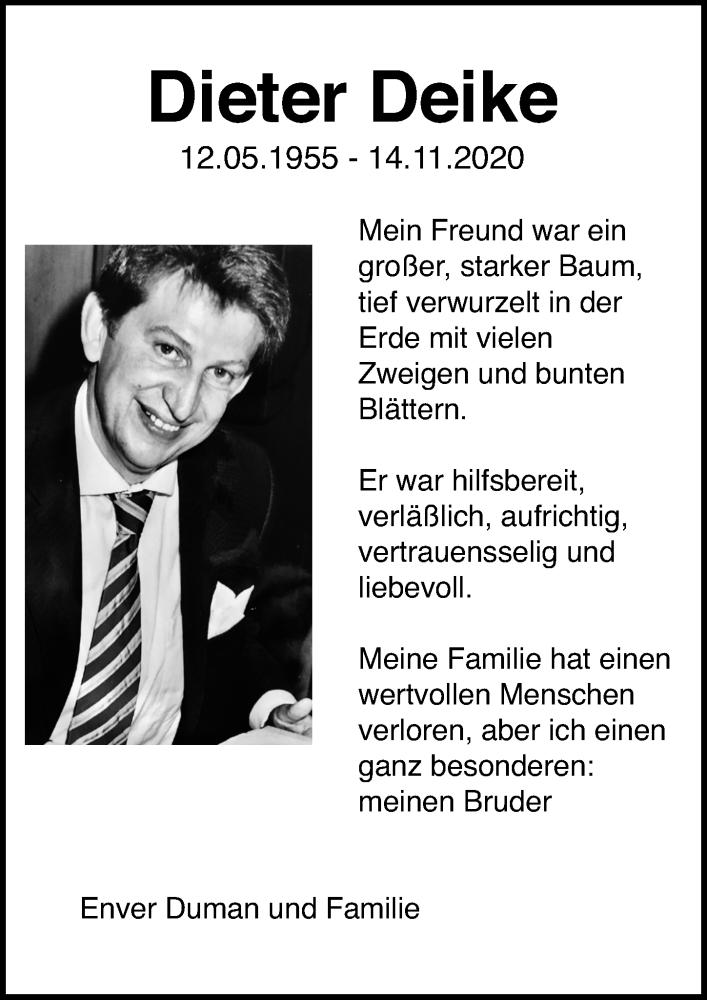 Traueranzeige für Dieter Deike vom 18.11.2020 aus Lübecker Nachrichten