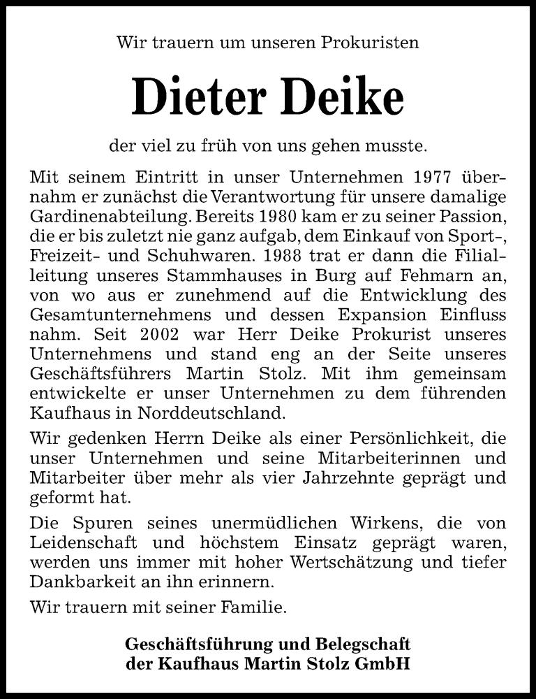 Traueranzeige für Dieter Deike vom 21.11.2020 aus Kieler Nachrichten