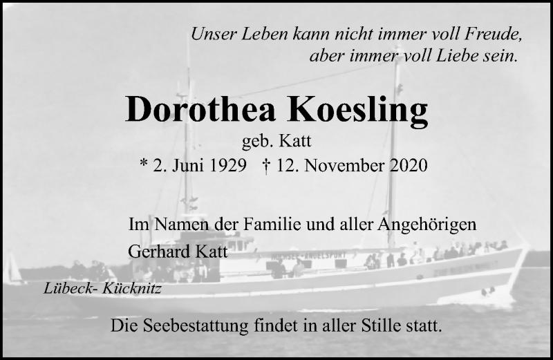 Traueranzeige für Dorothea Koesling vom 22.11.2020 aus Lübecker Nachrichten