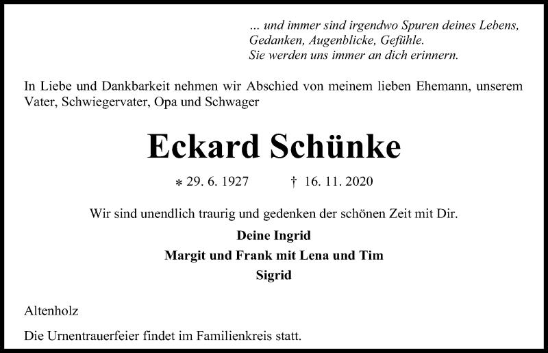 Traueranzeige für Eckard Schünke vom 21.11.2020 aus Kieler Nachrichten