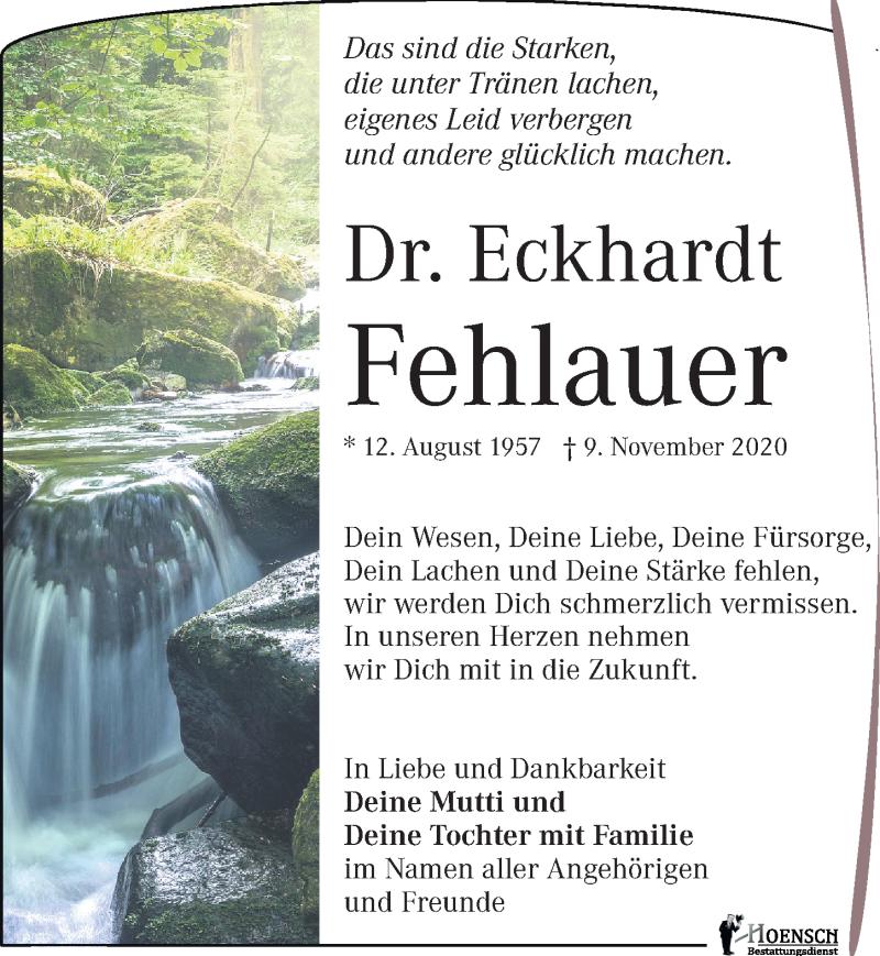 Traueranzeige für Eckhardt Fehlauer vom 21.11.2020 aus Leipziger Volkszeitung