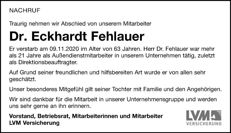 Traueranzeige für Eckhardt Fehlauer vom 14.11.2020 aus Leipziger Volkszeitung