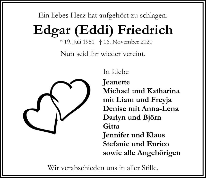 Traueranzeige für Edgar Friedrich vom 22.11.2020 aus Lübecker Nachrichten