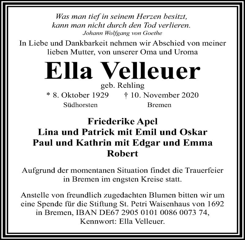 Traueranzeige für Ella Velleuer vom 21.11.2020 aus Schaumburger Nachrichten