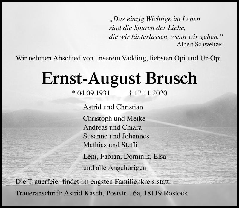 Traueranzeige für Ernst-August Brusch vom 21.11.2020 aus Ostsee-Zeitung GmbH