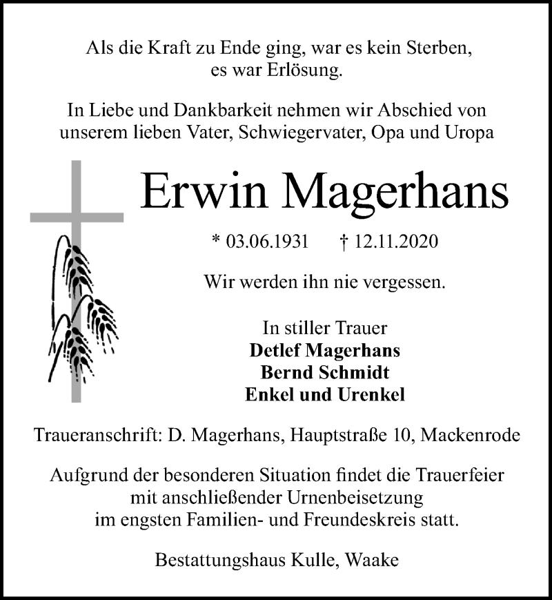 Traueranzeige für Erwin Magerhans vom 21.11.2020 aus Göttinger Tageblatt