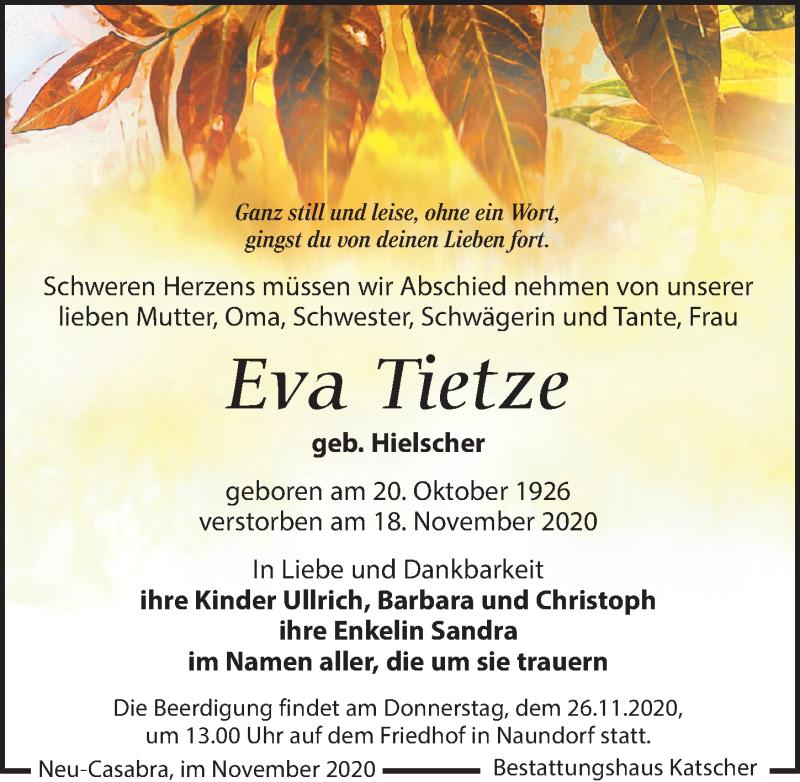 Traueranzeige für Eva Tietze vom 21.11.2020 aus Leipziger Volkszeitung