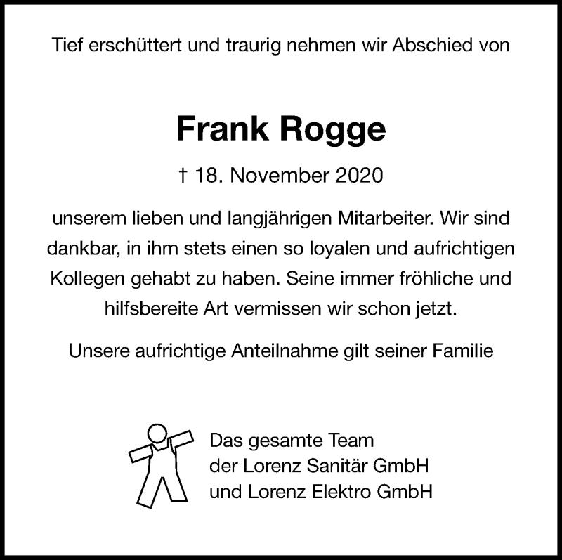 Traueranzeige für Frank Rogge vom 21.11.2020 aus Kieler Nachrichten