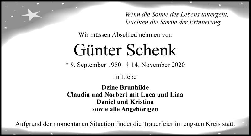 Traueranzeige für Günter Schenk vom 22.11.2020 aus Lübecker Nachrichten