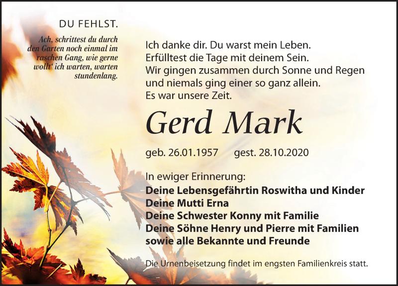 Traueranzeige für Gerd Mark vom 21.11.2020 aus Leipziger Volkszeitung