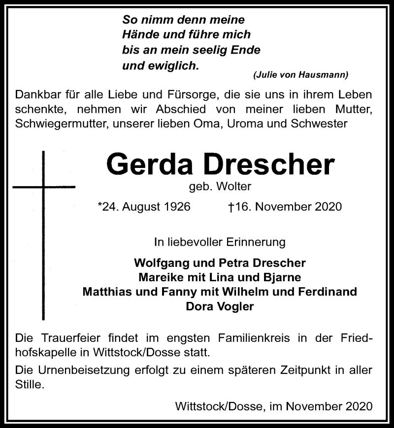 Traueranzeige für Gerda Drescher vom 19.11.2020 aus Märkischen Allgemeine Zeitung