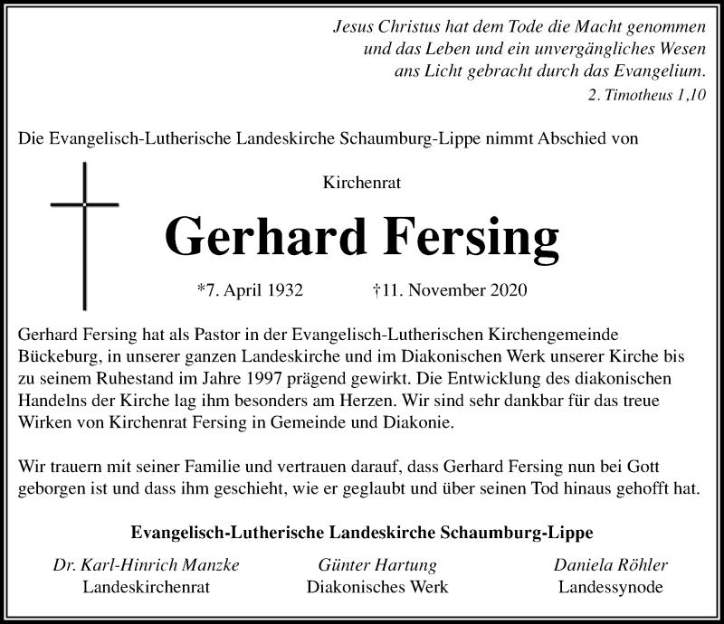 Traueranzeige für Gerhard Fersing vom 20.11.2020 aus Schaumburger Nachrichten