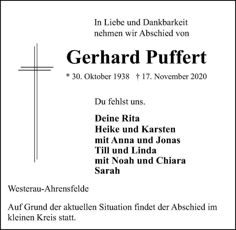 Traueranzeige für Gerhard Puffert vom 21.11.2020 aus Lübecker Nachrichten